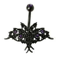 14G Steel Black Butterfly Purple CZ Top Hanging Navel Barbell 4 Pack