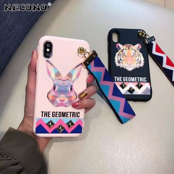 NECONO Fashion Soft Cartoon Tiger Rabbit Studded Rivet Cover Case For iphone X 8 7 Plus 6 6s Plus Wrist Strap Phone Case Capa