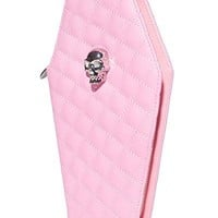 Lux De Ville ELVIRA COFFIN WALLET CLUTCH MATTE PINK Skull Head