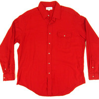 Red Wool Viyella Shirt - Saks 5th Ave, Flannel, Wool, Jacket, 60's Ivy League Menswear - Men's Size Extra Large X Lrg XL