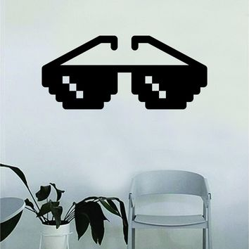 Pixel Sunglasses Decal Sticker Wall Vinyl Art Wall Bedroom Room Home Decor Inspirational Teen Kids Funny Meme Thug Life Gamer Game
