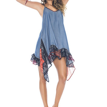 Agua Bendita Indigo Ruffle Mini Dress
