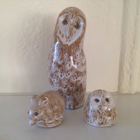 Pigeon Forge Ceramic Owls and Mouse Abstract Mid Century Modern Design Hand Signed Figures Figurines Statues