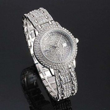 New Women Watch Stainless Steel Rhinestone Ceramic Crystal Quartz Wrist Watch