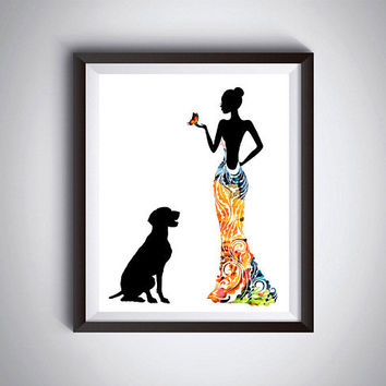 Dog print, Floral print, Woman silhouette, German pointer, Fashion wall art, Modern home decor, Minimalist print, Printable art, Digital dog