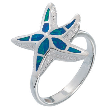Sea Star With Opal Inlay Sterling Silver Ring