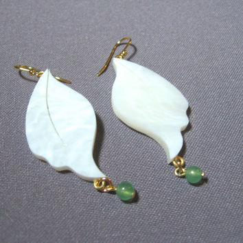 Hand Cut White Leaf Earrings