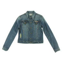 Hudson Womens Distressed Button Front Denim Jacket