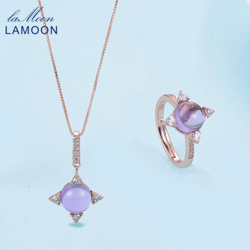 LAMOON Cross star 2.2ct Natrual Amethyst 925 sterling-silver-jewelry Women Rose Gold Jewelry Set Shadow Pendant Necklace Rings