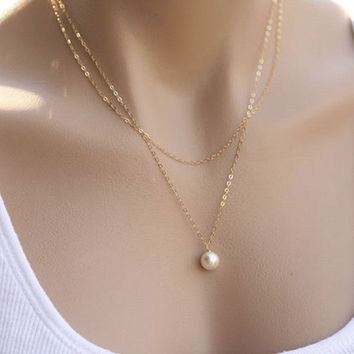 Fashion Natural Elegance Female Fine Pearl Pendant Necklace Chain Clavicle = 1706402884