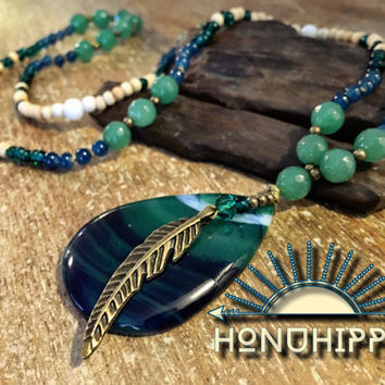 "Boho Hippie Jewelry, Native american ""Spirit""beaded necklace"