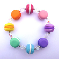Multi Coloured Macaroon Bracelet with Rainbow Crystals