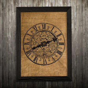 Burlap decor Clock poster Victorian print Antique print BLP671