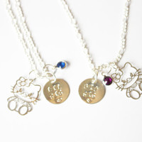 Big sis lil sis necklace.Set of two.Personalized necklace.Hello Kitty Necklace.Birthstone necklace.Sisters necklace.Matching necklace.