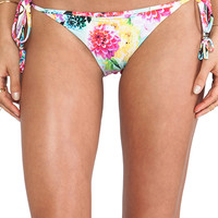 Seafolly Geisha Brazilian Tie Side Bikini Bottom in Mint
