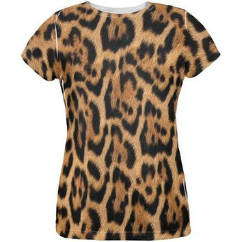 CREYCY8 Halloween Leopard Print Costume All Over Womens T Shirt