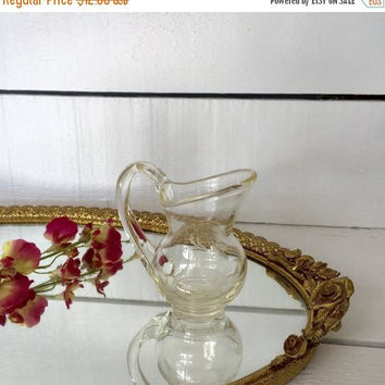 CIJ Sale Glass Pitcher, Etched Glass Pitcher, Hand Blown Glass, Glass Syrup Jug, Glass Cruet, Mini Glass Pitcher, Bud Vase