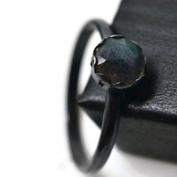 Natural Labradorite Ring, Oxidized Silver Ring, Grey Gemstone Ring, Dainty Sterling Silver Filigree Ring