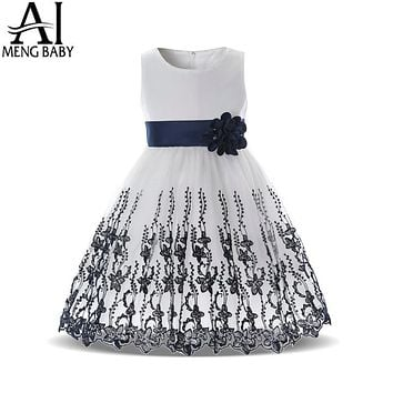 Baby Kids Dresses For Girl Lace Flower Fancy Prom Gown For Wedding Party Children Clothing Little Girl Clothes
