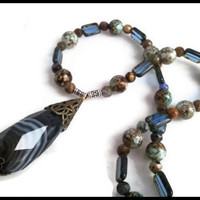 Black Banded Tear Drop Agate Gemstone Women's Necklace | Czech Glass Agate Quartz Tiger Eye Gemstone Necklace | Lady Green Eyes Jewelry