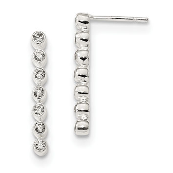 Sterling Silver Polished 7-CZ Bar Post Earrings QE13639