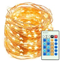 Premium Remote Control Plug-In 66FT LED Copper Wire String Lights