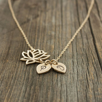 Personalized Lotus Flower Necklace - Yoga Jewelry . Gold Lotus Flower Pendant . 14K Gold Fill . His & Her Initials . Gift Ideas for Her, Mom