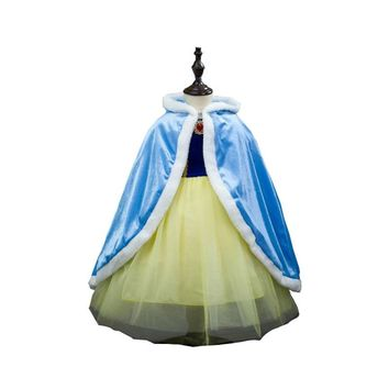 Warm cloak Girl dress  princess Dress  Anna Style Beauty and the beast Cape Girl outdoor  Cosplay Baptism Kid dress Kid clothes