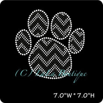 Black chevron paw print iron on hot fix rhinestone transfers - DIY chevron paw mascot school team logo -heat - bling