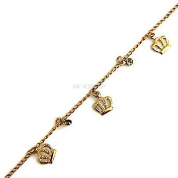 Crown Charms Design Anklet 18kts of Gold Plated