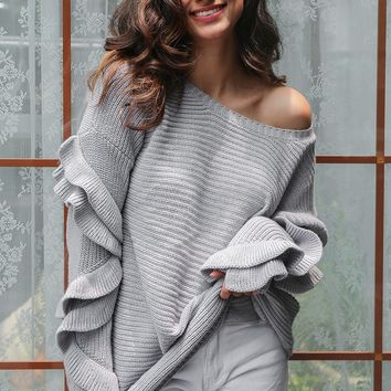 Ruffle sleeved off the shoulder knitted sweater