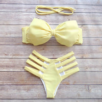 Retro Bow Hollow Out Bikini Set Swimsuit