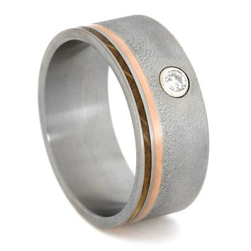 Flush Set Diamond Ring with Copper and Jack Daniels Wood Pinstripes, Frosted Titanium Finish