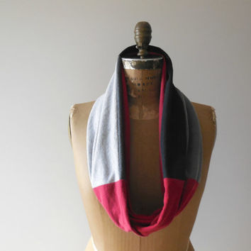 Temple University T Shirt Scarf / Infinity Scarf / Gray / Black / Burgundy Red / Recycled Tees / Handmade / Cotton / Gift for Her / ohzie