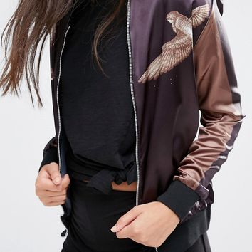 Boohoo Satin Bird Print Bomber Jacket