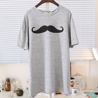 Spring Mustache Print Short Sleeves Tee Multiple Colors