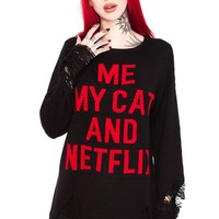 My Cat Distress Knit Sweater [B]