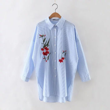 Summer Cotton Stripes Embroidery Long Sleeve Shirt [6332337604]