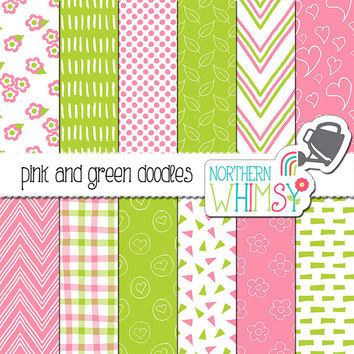 Pink and Green Digital Paper - hand drawn floral doodles - pink & lime seamless floral patterns - printable scrapbook paper - commercial use