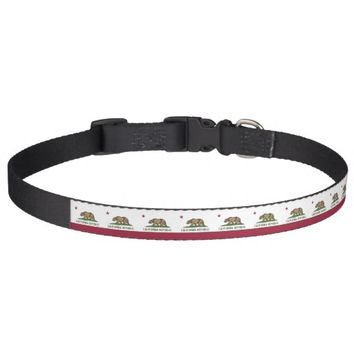 Patriotic dog collar with Flag of California State