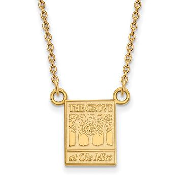 NCAA 14k Gold Plated Silver U of Mississippi Small Pendant Necklace