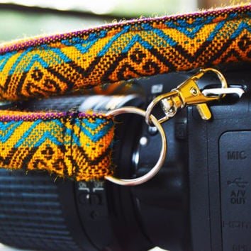 Yellow/Blue Peruvian Camera Strap with End Clips