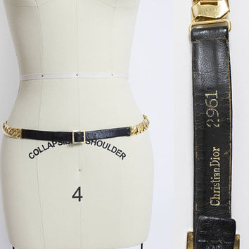 Vintage CHRISTIAN DIOR Belt - 1980s Black leather Gold Chain Thin Belt  - Large