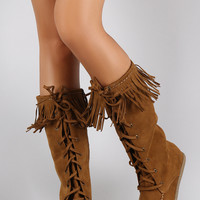 Soda Suede Fringe Round Toe Lace Up Moccasin Flat Boots