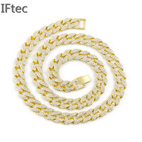 Men's Full Iced Out Yellow Gold Finish Miami Cuban Link Chain 14MM 30 '' Necklace