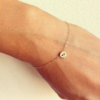 Mini skull 14K gold filled bracelet, so cute, best gift for your BF