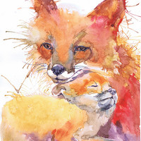 Fox painting watercolor, fox print, fox nursery art, mother and baby, woodland nursery, Fox and Baby, animal art, art print, nature painting