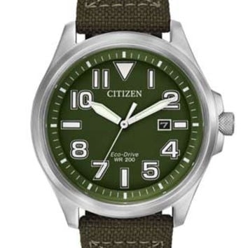 Citizen Eco-Drive Mens Military Sports Watch - Green Dial - Stainless Steel Case