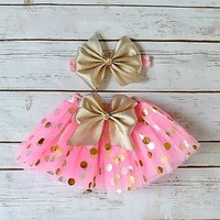 Pink and gold tutu skirt with headband - Shop cake smash outfits at Your Final Touch Hair Accessories.
