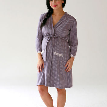 Dottie Robe {Grey with Pink Dot}